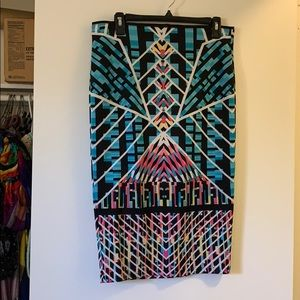 Bisou Bisou colorful pencil skirt sz med